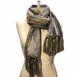 Gilded Age 100% Cotton Grey Striped Tasseled Scarf